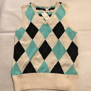 IZOD Women's Golf Vest Blue White New medium
